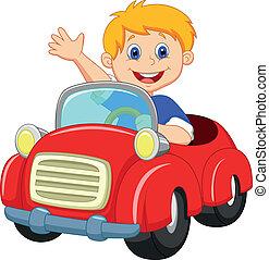 ragazzo, cartone animato, macchina rossa