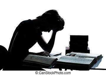 ragazzo, caucasico, taglio, silhouette, stanco, studiare, isolato, giovane, lettura, libri, studio, adolescente, fondo, bianco, ragazza, fuori