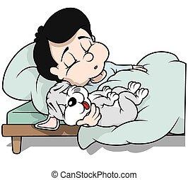 ragazzo, cucciolo, cane, in pausa