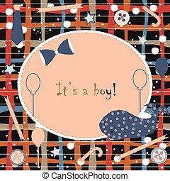 ragazzo, doccia, balena, announcement., arrivo, invito, card., announces, bambino, carino, nascita