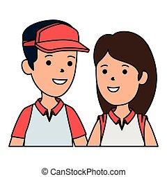 ragazzo, donna, carino, berretto, giovane, sport