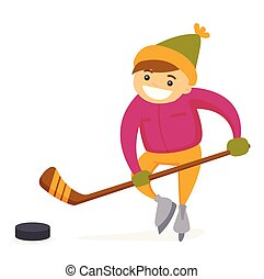 ragazzo, esterno, caucasico, hockey, gioco, rink.
