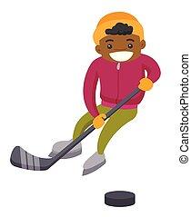 ragazzo, esterno, rink., hockey, africano, gioco