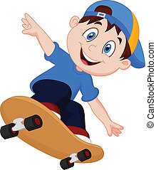 ragazzo, felice, cartone animato, skateboard