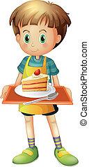 ragazzo, fetta, piastra, presa a terra, carrello torta