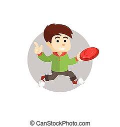 ragazzo, frisbee, gioco