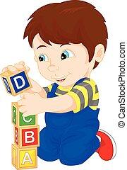 ragazzo, giocare blocco, alfabeto