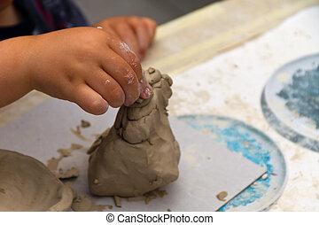 ragazzo, giocattolo, fabbricazione, argilla