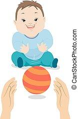 ragazzo, giochi palla, sindrome, illustrazione, giù, bambino