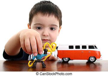 ragazzo, gioco, bambino, giocattoli