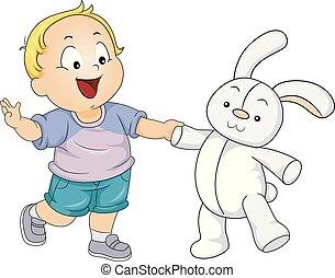 ragazzo, gioco, giocattolo, illustrazione, coniglio, bambino primi passi, capretto