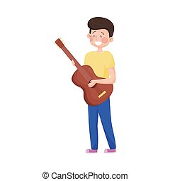 ragazzo, gioco, vettore, illustrazione, strada, chitarra, esecutore, giovane