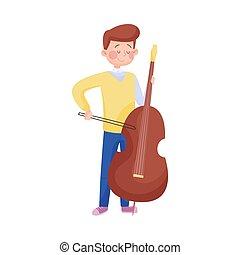 ragazzo, gioco, vettore, violoncello, illustrazione, esecutore strada, giovane