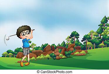 ragazzo, golf, gioco, foresta