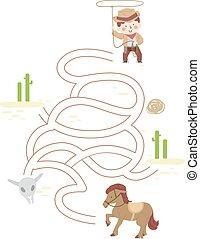 ragazzo, illustrazione, cowboy, capretto, cavallo, puzzle