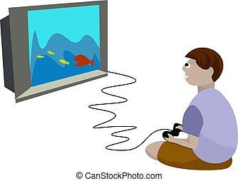 ragazzo, illustrazione, fondo., vettore, giochi video, bianco, gioco