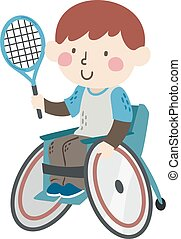 ragazzo, illustrazione, sedia ruota, capretto, racchetta tennis