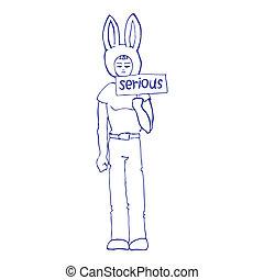 ragazzo, illustrazione, serio