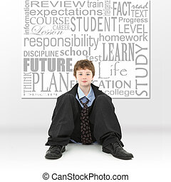 ragazzo, immagine, concetto, educazione