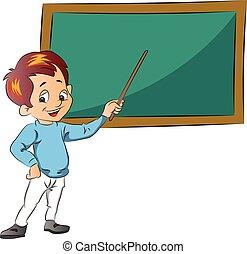 ragazzo, insegnamento, illustrazione
