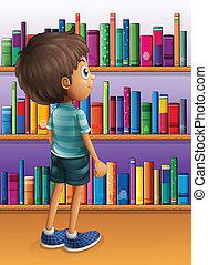 ragazzo, libro, ricerca, biblioteca