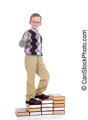 ragazzo, libro, scale, giovane