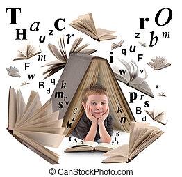 ragazzo, libro scuola, lettere, lettura