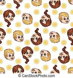 ragazzo, loro, modello, seamless, girl., vettore, joy., sole, illustrazioni, shines, felice
