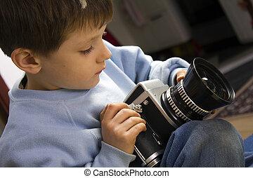 ragazzo, macchina fotografica, giovane