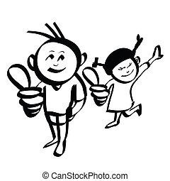 ragazzo, mano, vettore, disegnato, ragazza, cartone animato
