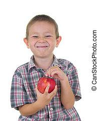 ragazzo, mela