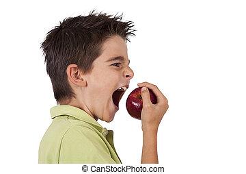 ragazzo, mela mangia