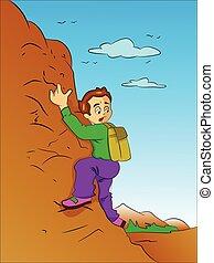 ragazzo, montagna, illustrazione, rampicante