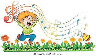 ragazzo, note, musicale, giardino, ballo