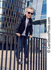 ragazzo, occhiali da sole, -, anni, 7, bambino, 8