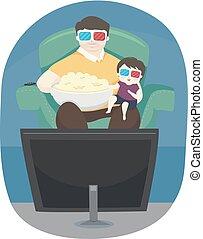 ragazzo, padre, illustrazione, film, popcorn, capretto