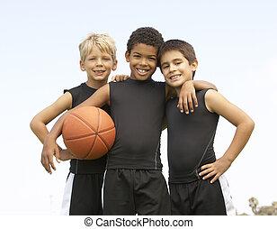 ragazzo, pallacanestro, giovane, gioco