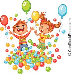 ragazzo, palle, colorito, campo di gioco, ragazza, gioco, felice