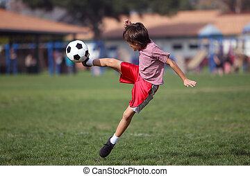 ragazzo, parco, calcio, gioco