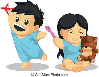 ragazzo, paziente, &, healthil, ragazza, gioco