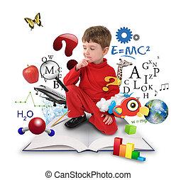ragazzo, pensare, scienza, giovane, libro, educazione