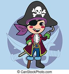 ragazzo, pirata, costume