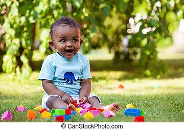 ragazzo, poco, americano, africano, bambino, erba, gioco