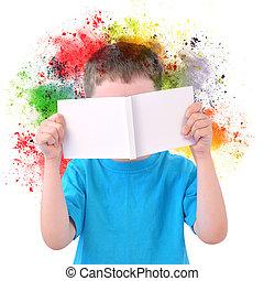 ragazzo, poco, arte, vernice, libro, bianco, lettura