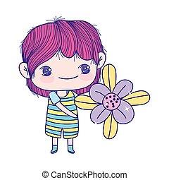 ragazzo, poco, bello, carino, tenendo floreale, cartone animato