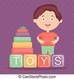 ragazzo, poco, blocchi giocattolo, alfabeto, gioco