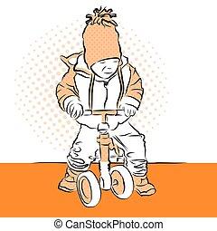 ragazzo, poco, colorito, crives, vendemmia, tricycle., vettore, artwork.