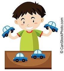 ragazzo, poco, giocattolo, gioco, automobili