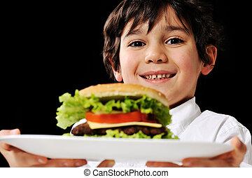 ragazzo, poco, hamburger, offerta, piastra