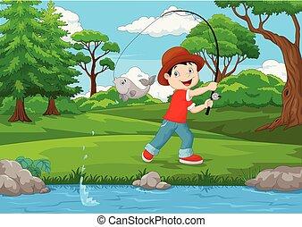 ragazzo, poco, pesca lago